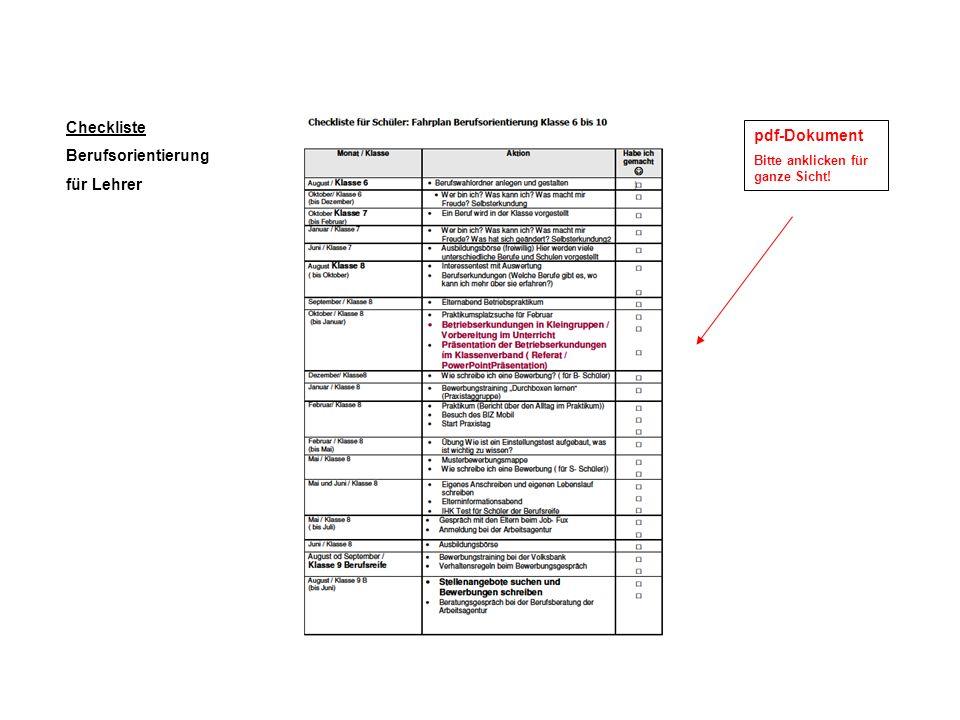 Checkliste Berufsorientierung für Lehrer pdf-Dokument Bitte anklicken für ganze Sicht!