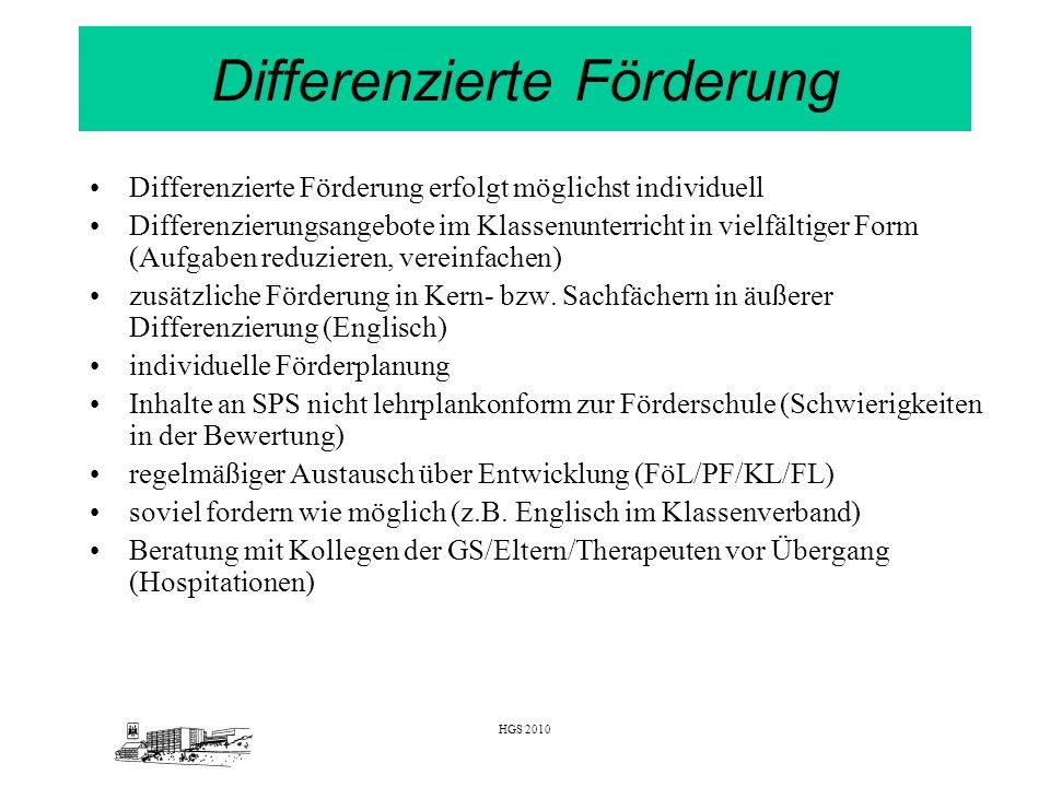 HGS 2010 Differenzierte Förderung Differenzierte Förderung erfolgt möglichst individuell Differenzierungsangebote im Klassenunterricht in vielfältiger