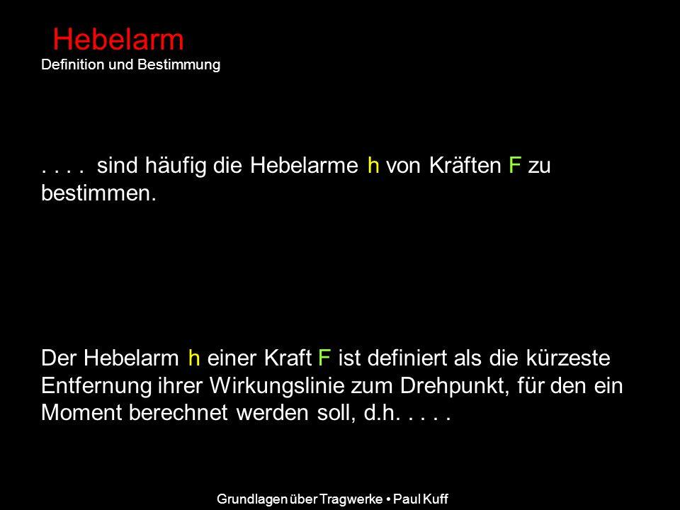Grundlagen über Tragwerke Paul Kuff Hebelarm Definition und Bestimmung.... sind häufig die Hebelarme h von Kräften F zu bestimmen. Der Hebelarm h eine