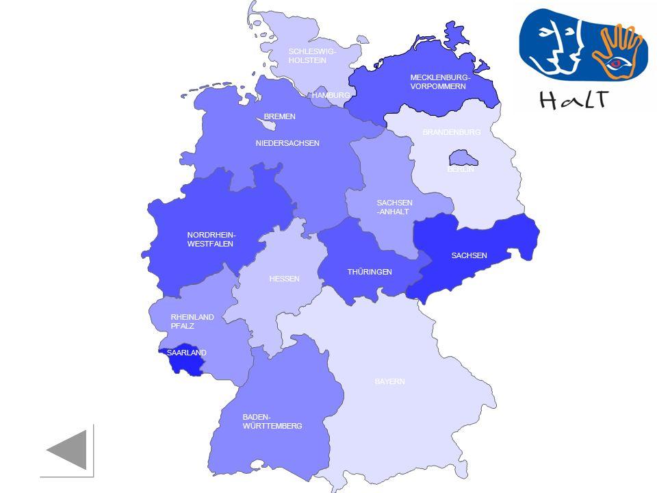 RHEINLAND PFALZ SAARLAND SACHSEN BRANDENBURG NORDRHEIN- WESTFALEN HESSEN BADEN- WÜRTTEMBERG BAYERN THÜRINGEN SACHSEN -ANHALT NIEDERSACHSEN BREMEN HAMBURG BERLIN MECKLENBURG- VORPOMMERN SCHLESWIG- HOLSTEIN Suchthilfe direkt Essen Fachstelle für Suchtprävention Sven Hulvershorn Telefon: 0201 / 85 617 15 E-Mail: hulvershorn@suchthilfe-direkt.de Essen