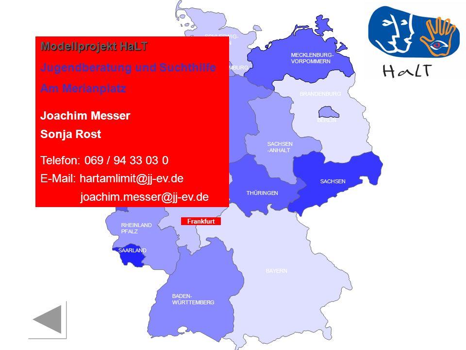 RHEINLAND PFALZ SAARLAND SACHSEN BRANDENBURG NORDRHEIN- WESTFALEN HESSEN BADEN- WÜRTTEMBERG BAYERN THÜRINGEN SACHSEN -ANHALT NIEDERSACHSEN BREMEN HAMBURG BERLIN MECKLENBURG- VORPOMMERN SCHLESWIG- HOLSTEIN Landkreis Offenbach Suchthilfezentrum Wildhof Mechthild Rau E-Mail: vorstand@shz-wildhof.de Telefon: 069 / 98195310 Jugendschutz Heike Simmank Telefon: 06074 / 818 032 28 E-Mail: H.Simmank@Kreis-offenbach.de Offenbach