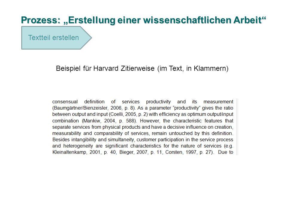 Prozess: Erstellung einer wissenschaftlichen Arbeit Textteil erstellen Beispiel für Harvard Zitierweise (im Text, in Klammern)