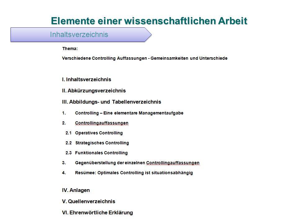 Elemente einer wissenschaftlichen Arbeit Inhaltsverzeichnis