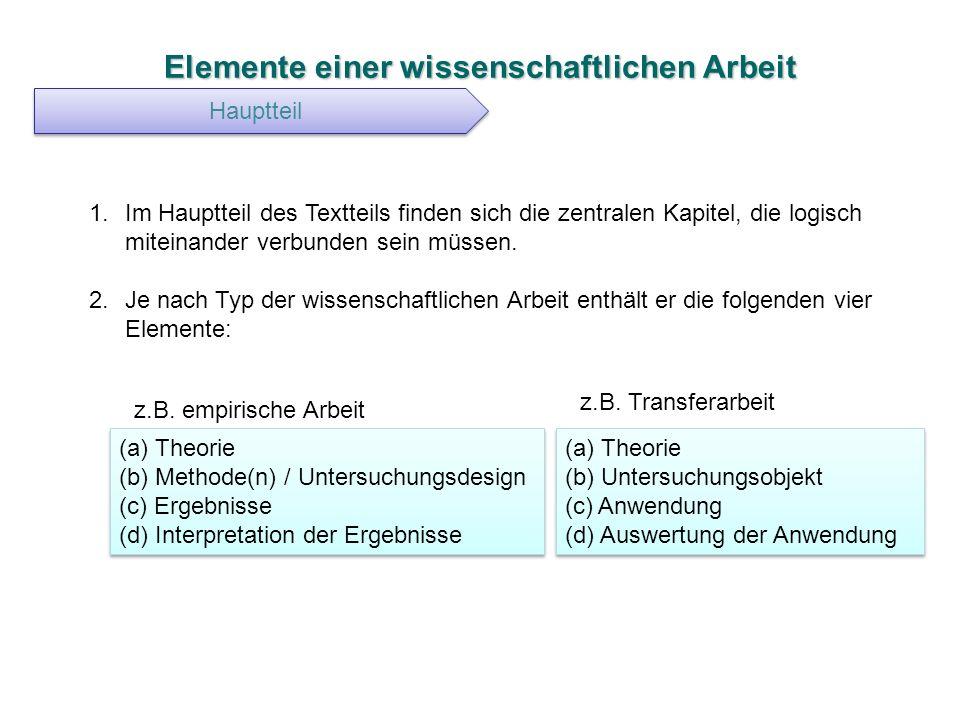 Elemente einer wissenschaftlichen Arbeit Hauptteil 1.Im Hauptteil des Textteils finden sich die zentralen Kapitel, die logisch miteinander verbunden s