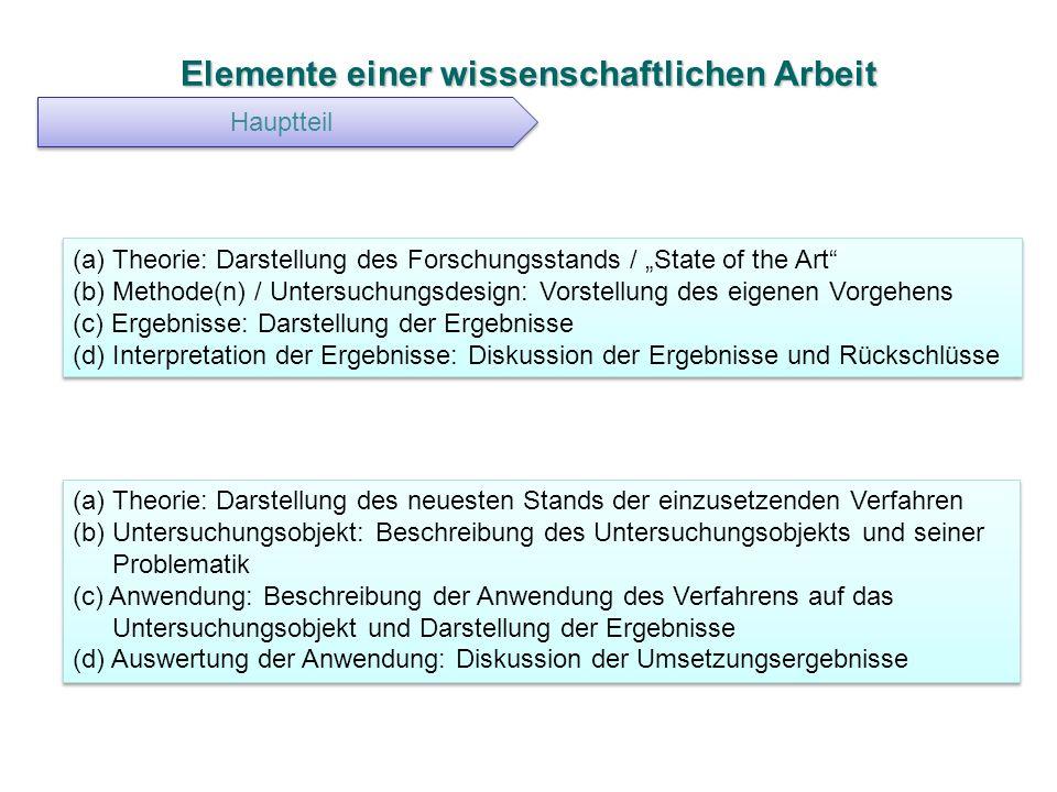 Elemente einer wissenschaftlichen Arbeit Hauptteil (a) Theorie: Darstellung des Forschungsstands / State of the Art (b) Methode(n) / Untersuchungsdesi