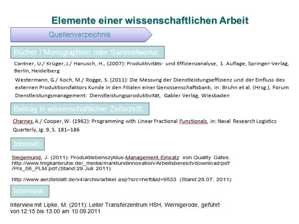 Elemente einer wissenschaftlichen Arbeit Quellenverzeichnis Bücher / Monographien oder Sammelwerke: Beitrag in wissenschaftlicher Zeitschrift: Interne