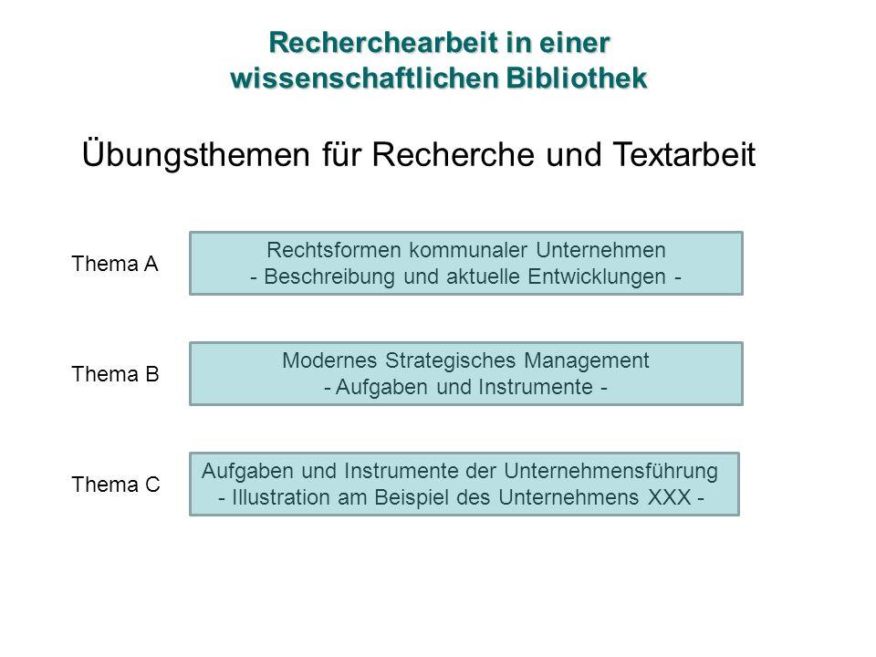 Recherchearbeit in einer wissenschaftlichen Bibliothek Übungsthemen für Recherche und Textarbeit Rechtsformen kommunaler Unternehmen - Beschreibung un