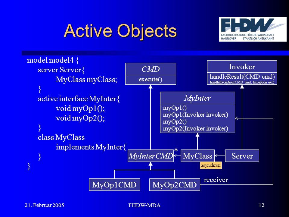 21. Februar 2005FHDW-MDA12 Active Objects model model4 { server Server{ MyClass myClass; } active interface MyInter{ void myOp1(); void myOp2(); } cla
