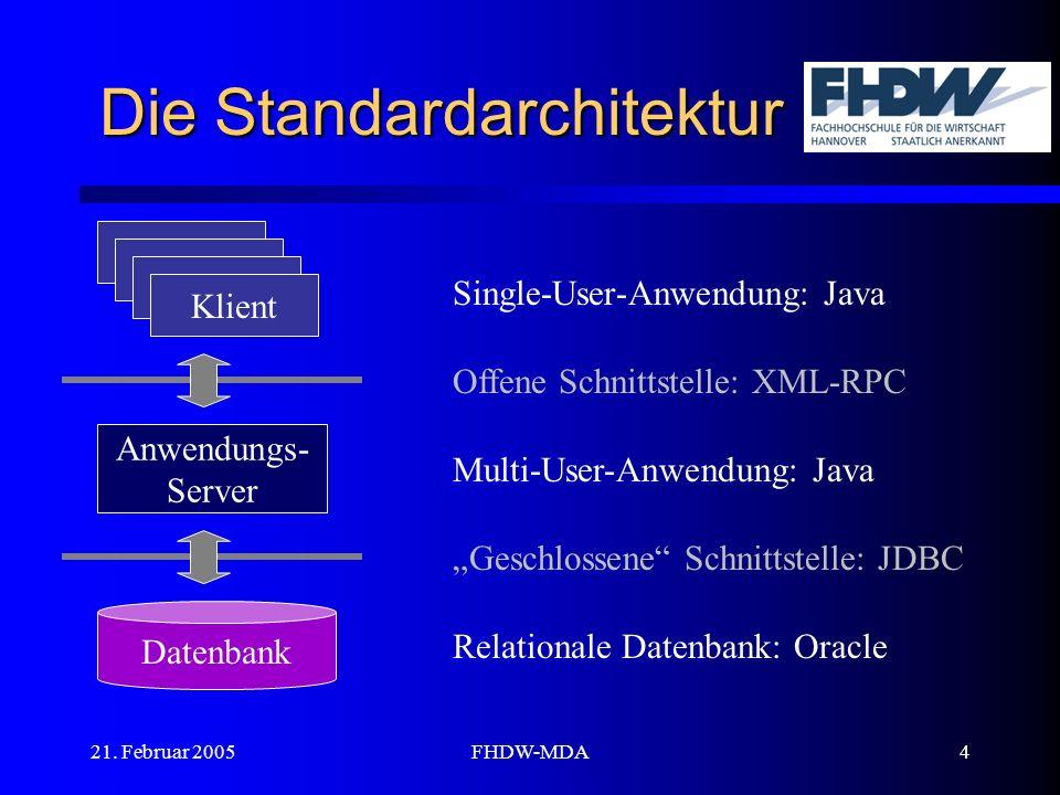 21. Februar 2005FHDW-MDA4 Die Standardarchitektur Klient Anwendungs- Server Datenbank Relationale Datenbank: Oracle Single-User-Anwendung: Java Multi-
