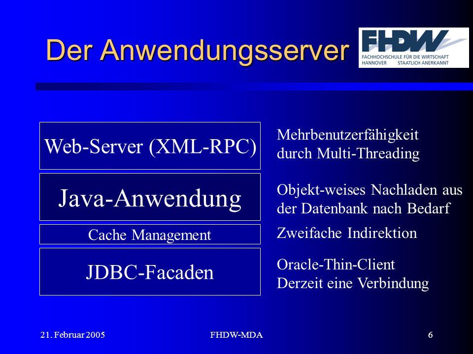 21. Februar 2005FHDW-MDA6 Der Anwendungsserver Java-Anwendung JDBC-Facaden Web-Server (XML-RPC) Oracle-Thin-Client Derzeit eine Verbindung Mehrbenutze