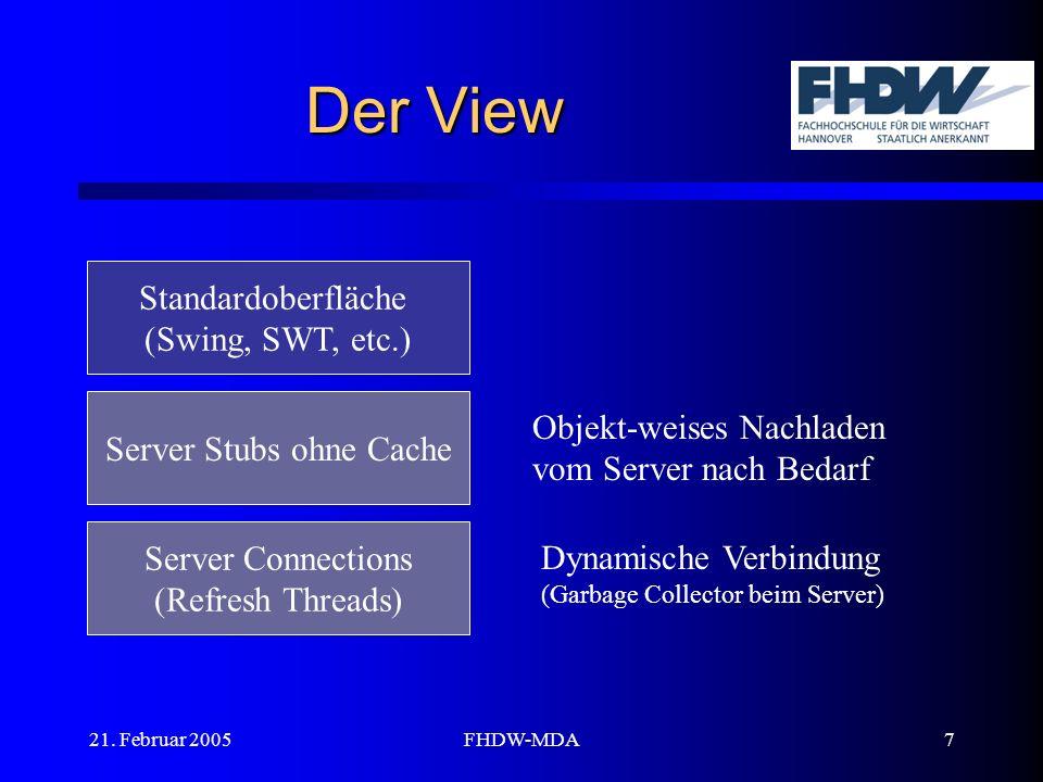 21. Februar 2005FHDW-MDA7 Der View Standardoberfläche (Swing, SWT, etc.) Server Stubs ohne Cache Server Connections (Refresh Threads) Objekt-weises Na