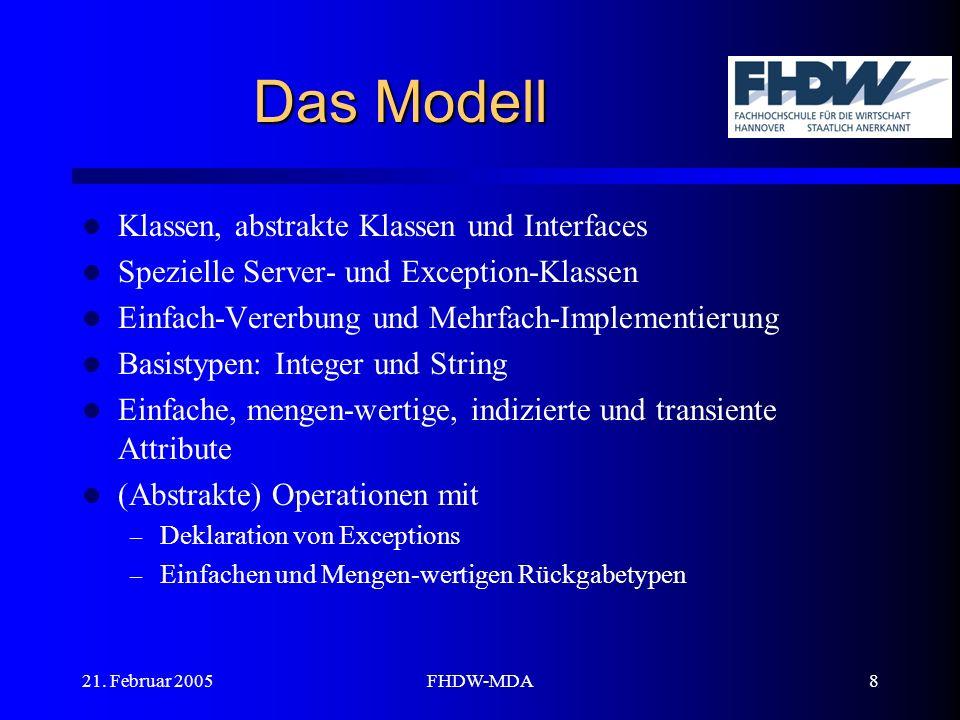 21. Februar 2005FHDW-MDA8 Das Modell Klassen, abstrakte Klassen und Interfaces Spezielle Server- und Exception-Klassen Einfach-Vererbung und Mehrfach-