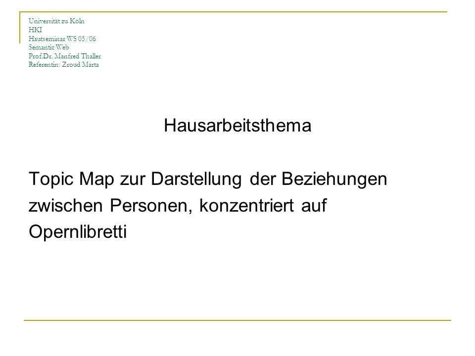 Universität zu Köln HKI Hautseminar WS 05/06 Semantic Web Prof.Dr. Manfred Thaller Referentin: Zroud Marta Hausarbeitsthema Topic Map zur Darstellung