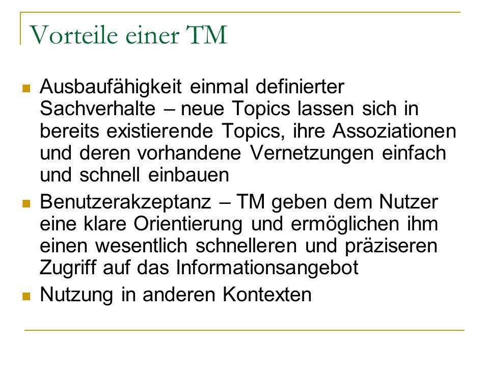 Vorteile einer TM Ausbaufähigkeit einmal definierter Sachverhalte – neue Topics lassen sich in bereits existierende Topics, ihre Assoziationen und der