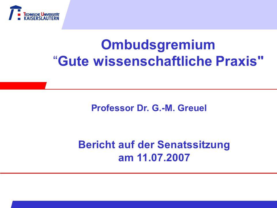OmbudsgremiumGute wissenschaftliche Praxis