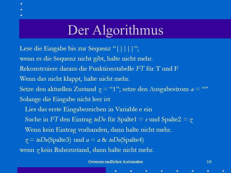 Grenzen endlicher Automaten10 Der Algorithmus Lese die Eingabe bis zur Sequenz |||||; wenn es die Sequenz nicht gibt, halte nicht mehr. Rekonstruiere