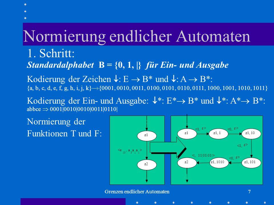 Grenzen endlicher Automaten7 Normierung endlicher Automaten 1. Schritt: Standardalphabet B = {0, 1, |} für Ein- und Ausgabe Kodierung der Zeichen : E