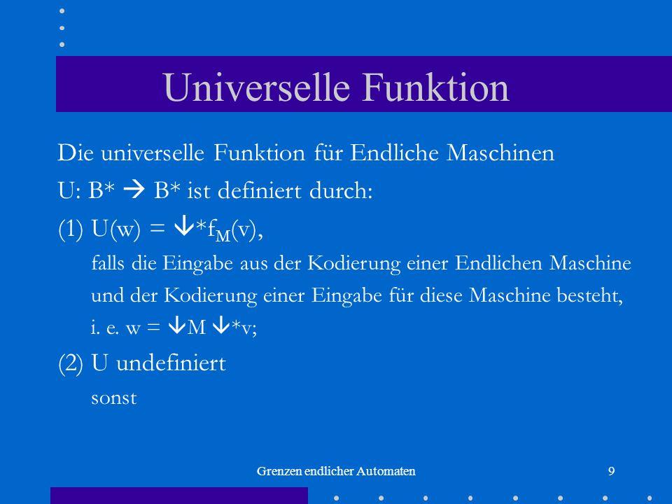 Grenzen endlicher Automaten9 Universelle Funktion Die universelle Funktion für Endliche Maschinen U: B* B* ist definiert durch: (1) U(w) = *f M (v), f