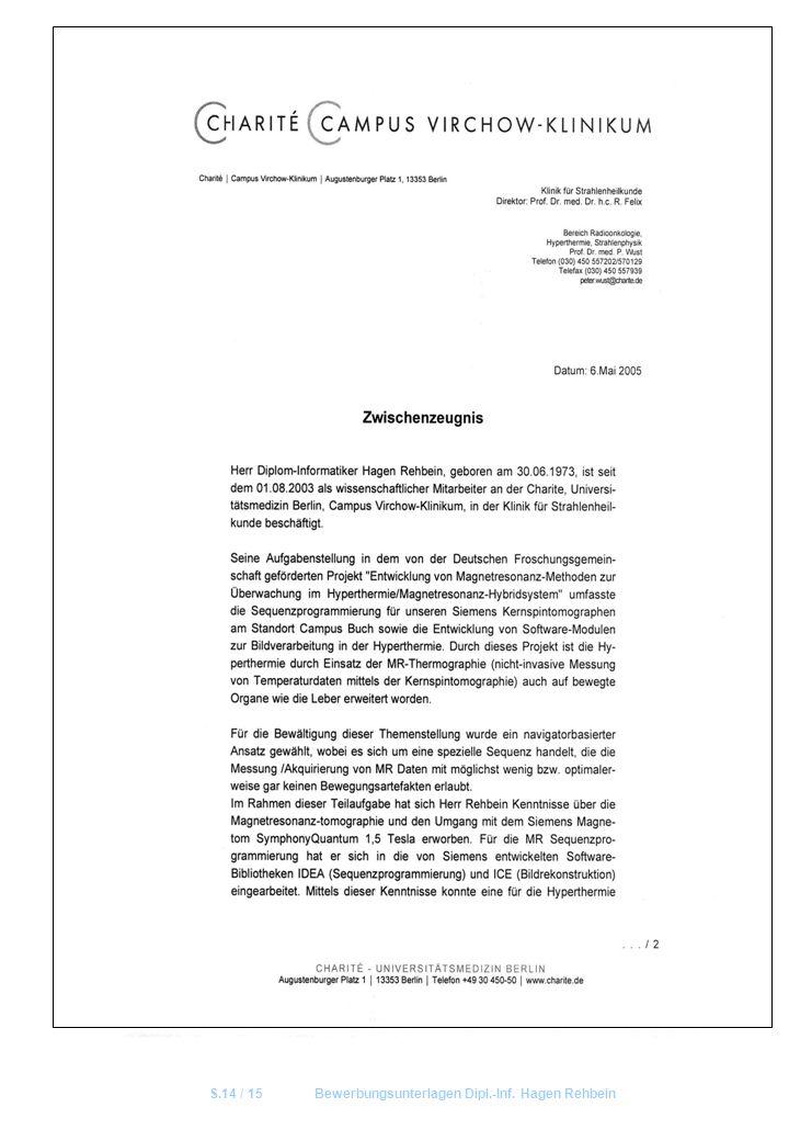 S.14 / 15Bewerbungsunterlagen Dipl.-Inf. Hagen Rehbein