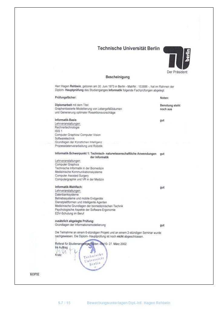 S.7 / 15Bewerbungsunterlagen Dipl.-Inf. Hagen Rehbein