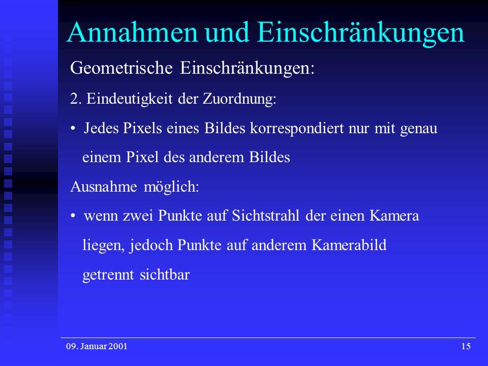 09. Januar 200115 Annahmen und Einschränkungen Geometrische Einschränkungen: 2. Eindeutigkeit der Zuordnung: Jedes Pixels eines Bildes korrespondiert