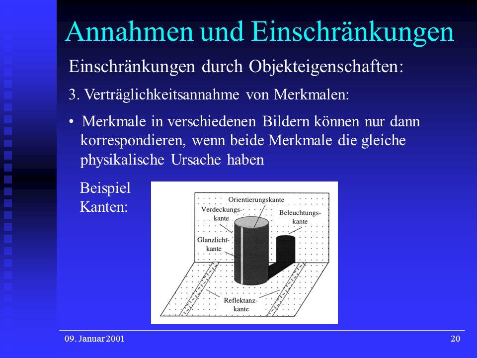 09. Januar 200120 Annahmen und Einschränkungen Einschränkungen durch Objekteigenschaften: 3. Verträglichkeitsannahme von Merkmalen: Merkmale in versch