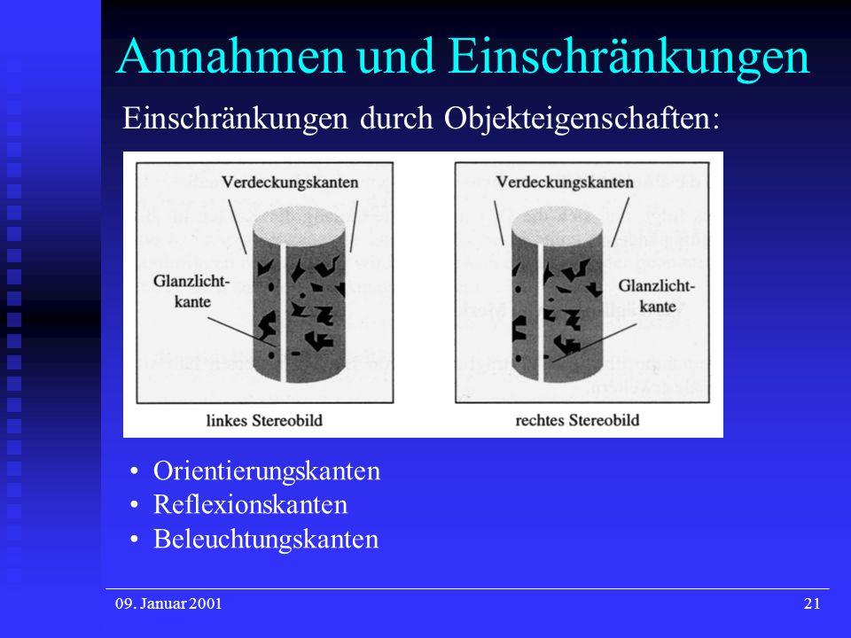 09. Januar 200121 Annahmen und Einschränkungen Einschränkungen durch Objekteigenschaften: Orientierungskanten Reflexionskanten Beleuchtungskanten