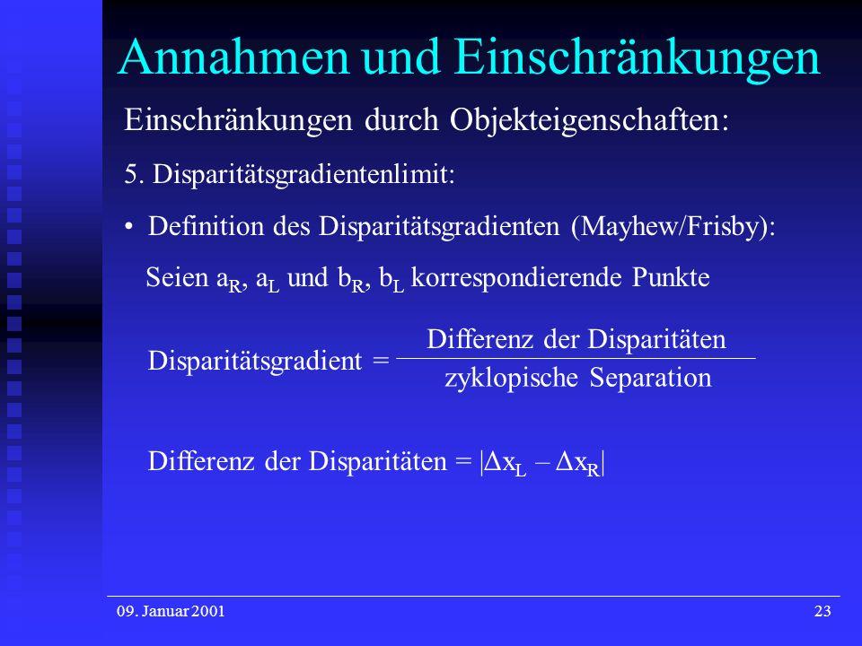 09. Januar 200123 Annahmen und Einschränkungen Einschränkungen durch Objekteigenschaften: 5. Disparitätsgradientenlimit: Definition des Disparitätsgra