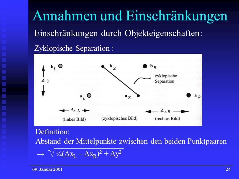 09. Januar 200124 Annahmen und Einschränkungen Einschränkungen durch Objekteigenschaften: Zyklopische Separation : ¼(Δx L – Δx R ) 2 + Δy 2 Definition