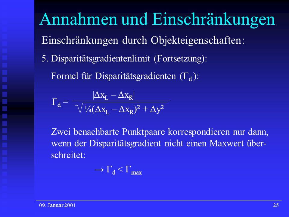 09. Januar 200125 Annahmen und Einschränkungen Einschränkungen durch Objekteigenschaften: 5. Disparitätsgradientenlimit (Fortsetzung): Formel für Disp