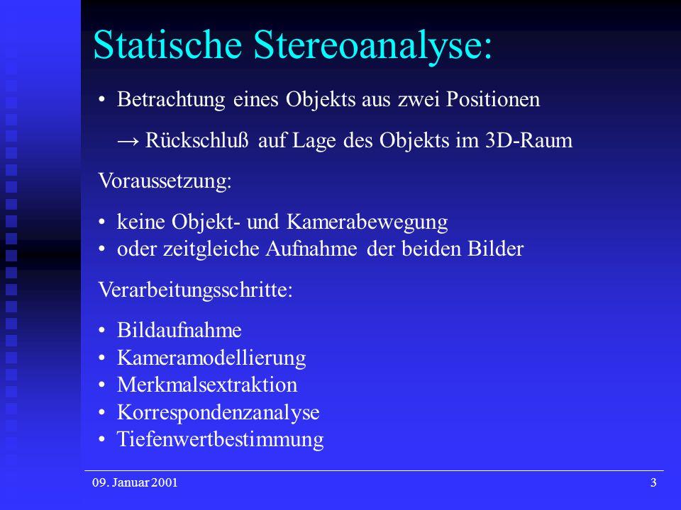 09. Januar 20013 Statische Stereoanalyse: Betrachtung eines Objekts aus zwei Positionen Rückschluß auf Lage des Objekts im 3D-Raum Voraussetzung: kein