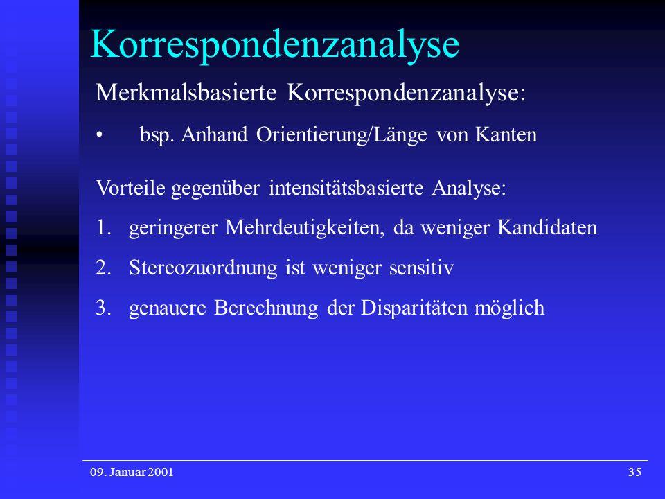 09. Januar 200135 Korrespondenzanalyse Merkmalsbasierte Korrespondenzanalyse: bsp. Anhand Orientierung/Länge von Kanten Vorteile gegenüber intensitäts
