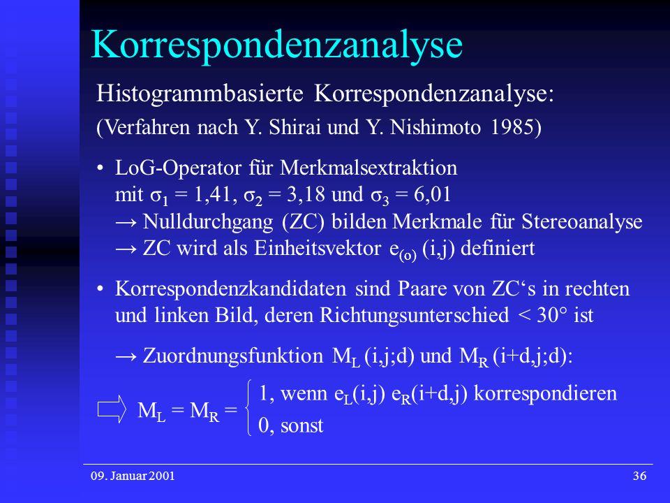 09. Januar 200136 Korrespondenzanalyse Histogrammbasierte Korrespondenzanalyse: (Verfahren nach Y. Shirai und Y. Nishimoto 1985) LoG-Operator für Merk