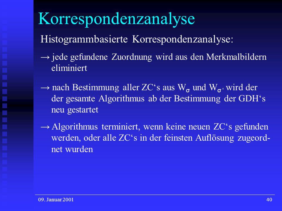 09. Januar 200140 Korrespondenzanalyse Histogrammbasierte Korrespondenzanalyse: jede gefundene Zuordnung wird aus den Merkmalbildern eliminiert nach B