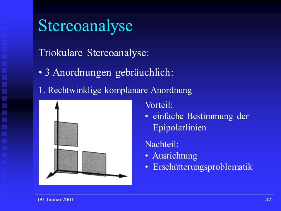 09. Januar 200142 Stereoanalyse Triokulare Stereoanalyse: 3 Anordnungen gebräuchlich: 1. Rechtwinklige komplanare Anordnung Vorteil: einfache Bestimmu