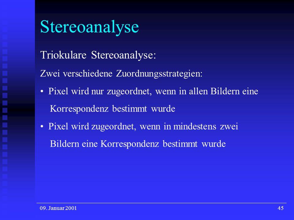 09. Januar 200145 Stereoanalyse Triokulare Stereoanalyse: Zwei verschiedene Zuordnungsstrategien: Pixel wird nur zugeordnet, wenn in allen Bildern ein