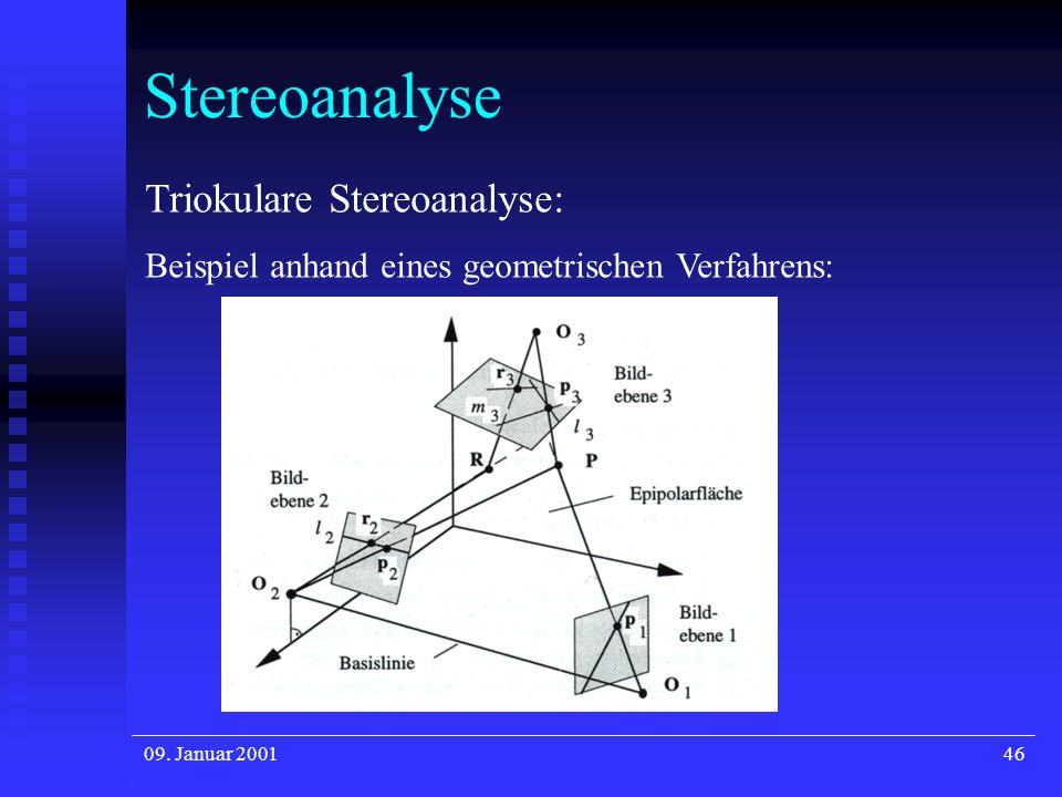 09. Januar 200146 Stereoanalyse Triokulare Stereoanalyse: Beispiel anhand eines geometrischen Verfahrens: