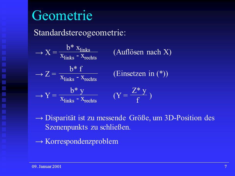 09. Januar 20018 Geometrie 1. Stereobildaufnahmesystem: