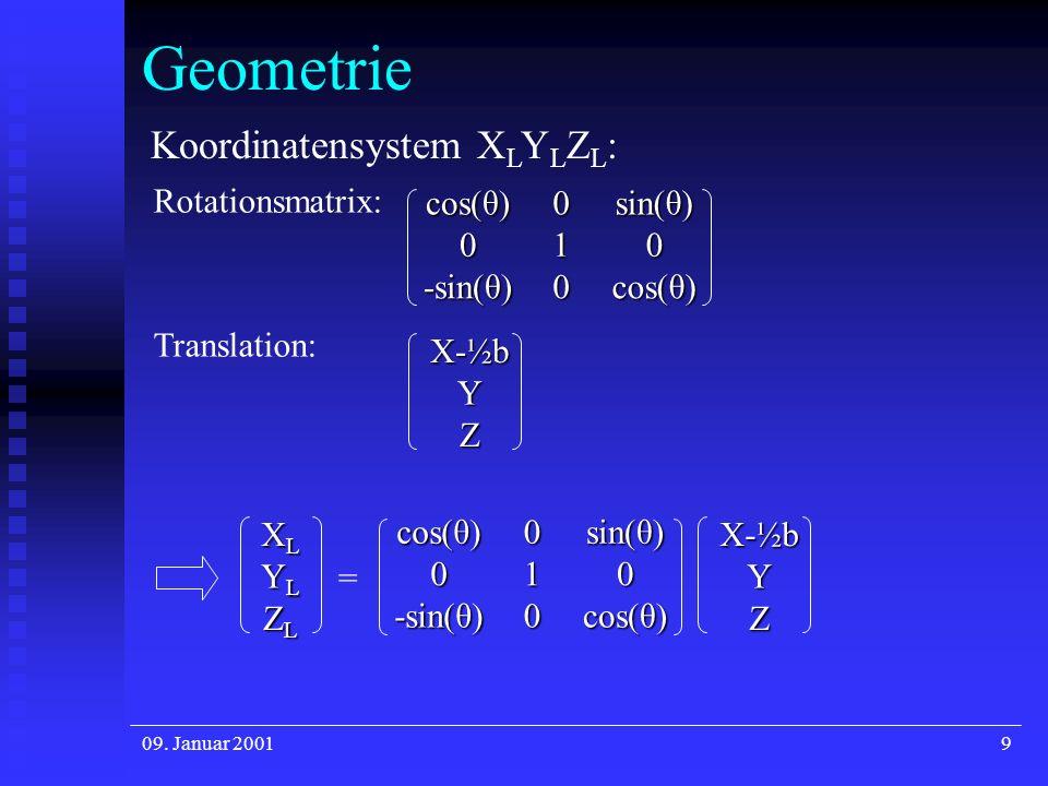 09. Januar 20019 Geometrie Koordinatensystem X L Y L Z L : Rotationsmatrix:cos(θ)0sin(θ)010 -sin(θ)0cos(θ) Translation:X-½bY Z cos(θ)0sin(θ)010 -sin(θ