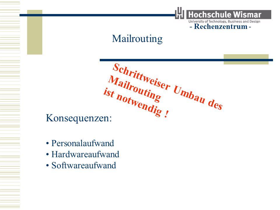 - Rechenzentrum - Mailrouting Schrittweiser Umbau des Mailrouting ist notwendig .