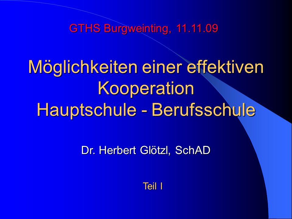 Möglichkeiten einer effektiven Kooperation Hauptschule - Berufsschule GTHS Burgweinting, 11.11.09 Dr. Herbert Glötzl, SchAD Teil I
