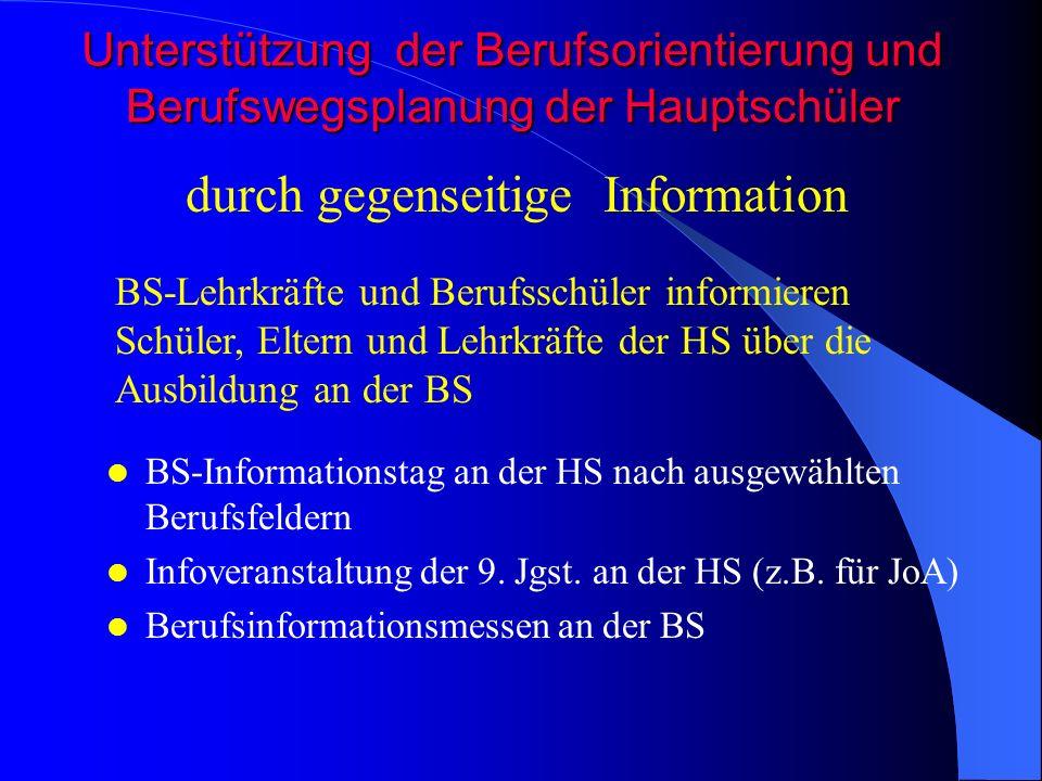 Unterstützung der Berufsorientierung und Berufswegsplanung der Hauptschüler BS-Informationstag an der HS nach ausgewählten Berufsfeldern Infoveranstal