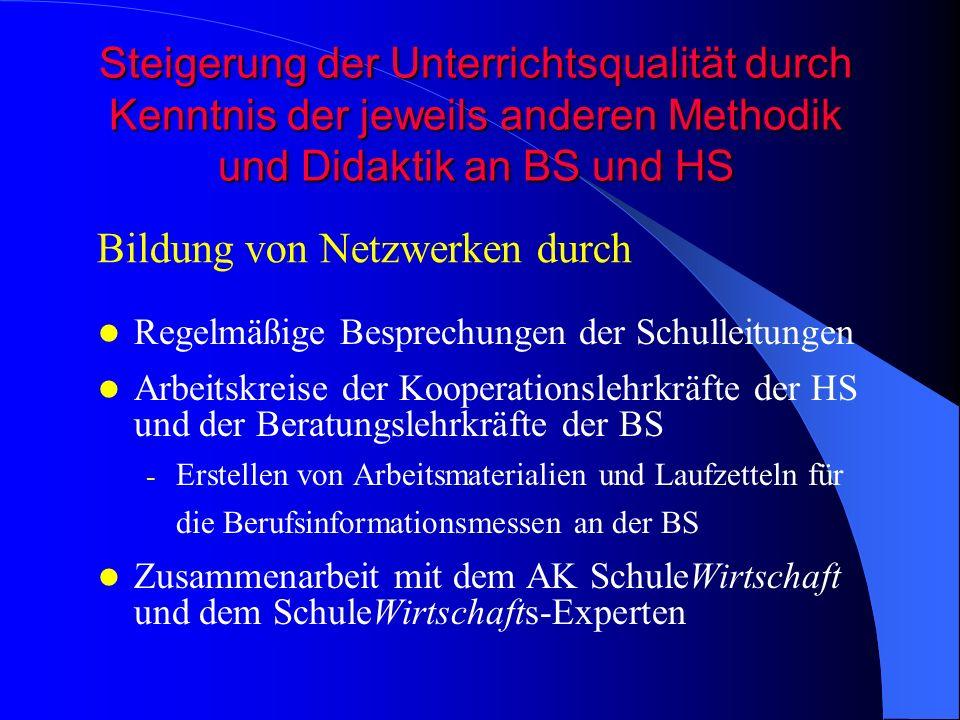 Steigerung der Unterrichtsqualität durch Kenntnis der jeweils anderen Methodik und Didaktik an BS und HS Regelmäßige Besprechungen der Schulleitungen