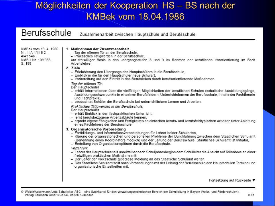 Möglichkeiten der Kooperation HS – BS nach der KMBek vom 18.04.1986 Information