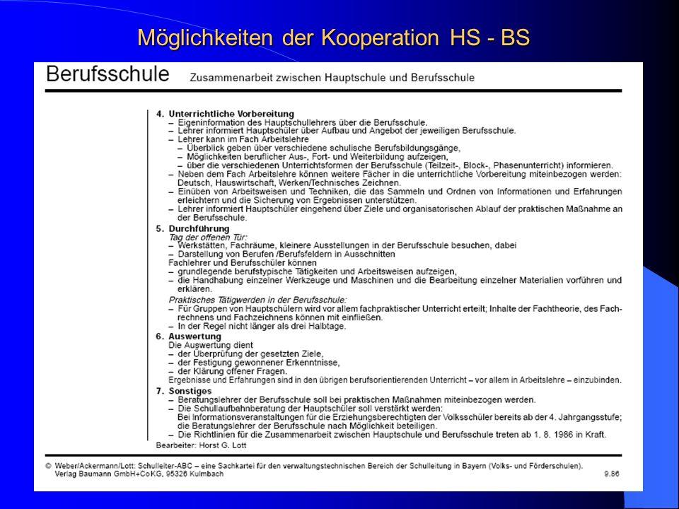 Möglichkeiten der Kooperation HS - BS Information