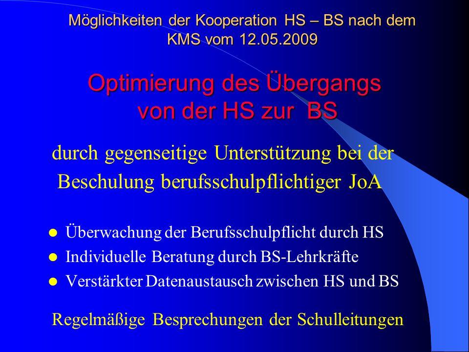 Überwachung der Berufsschulpflicht durch HS Individuelle Beratung durch BS-Lehrkräfte Verstärkter Datenaustausch zwischen HS und BS Lehrkräfte der BS
