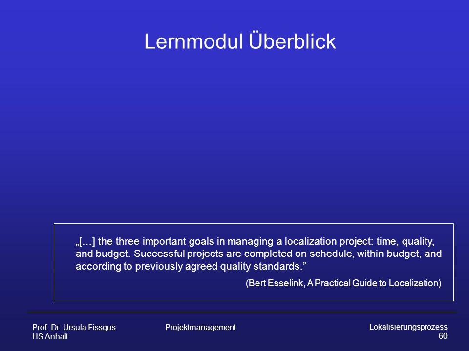 Prof. Dr. Ursula Fissgus HS Anhalt Projektmanagement Lokalisierungsprozess 60 Lernmodul Überblick […] the three important goals in managing a localiza