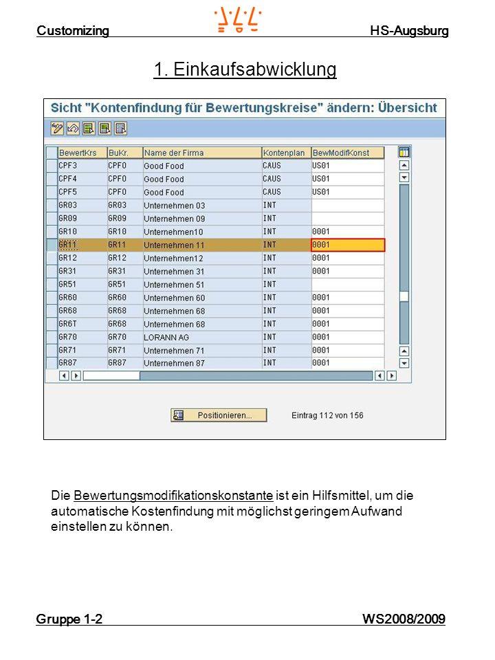 Customizing HS-Augsburg Gruppe 1-2 WS2008/2009 1. Einkaufsabwicklung Die Bewertungsmodifikationskonstante ist ein Hilfsmittel, um die automatische Kos