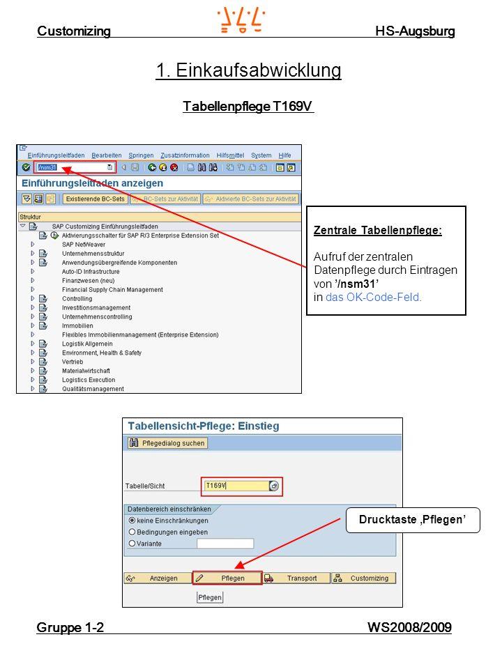 Customizing HS-Augsburg Gruppe 1-2 WS2008/2009 1. Einkaufsabwicklung Tabellenpflege T169V Zentrale Tabellenpflege: Aufruf der zentralen Datenpflege du