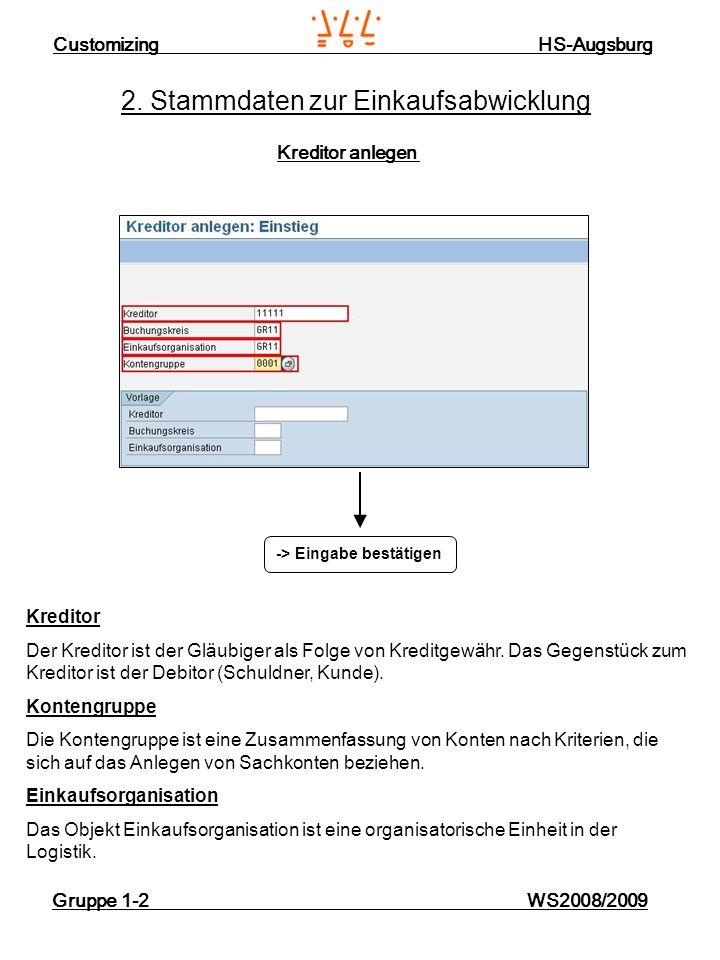 Customizing HS-Augsburg Gruppe 1-2 WS2008/2009 2. Stammdaten zur Einkaufsabwicklung Kreditor anlegen -> Eingabe bestätigen Kreditor Der Kreditor ist d